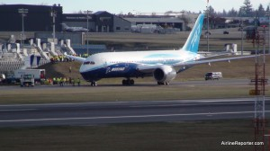 ZA001 Boeing 787 Dreamliner during taxi tests on 12/12/09