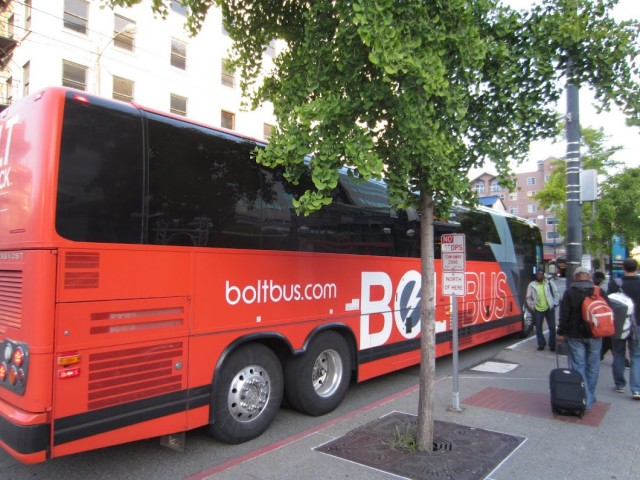 Catching the Bolt Bus in Seattle, WA. Photo by Malcolm Muir.