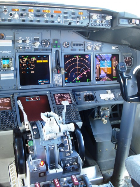 The flight deck of a Boeing 737-800. Photo by Owen Zupp.