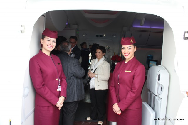 Welcome on board -- entering the Qatar Boeing 787 Dreamliner for the first time.