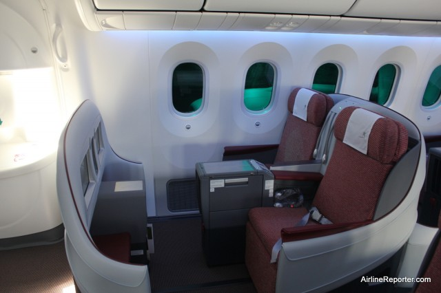 Business Class on LAN's brand new Boeing 787 Dreamliner. More comfy than economy.