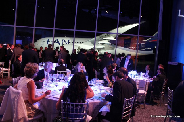 LAN's 787 sits outside, while Boeing, LAN and media have dinner in the Future of Flight.